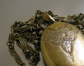RESERVED FOR T Gold Wash Over Sterling Silver 1860s Birmingham Locket Fancy Interlocking Chain