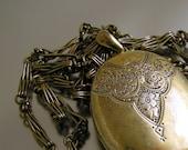 Gold Wash Over Sterling Silver 1860s Birmingham Locket Fancy Interlocking Chain