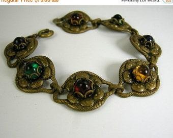 30% Off Sale Art Deco Czech Glass Bracelet