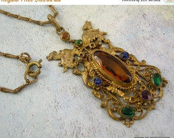 Love Yourself Sale Art Deco Czech Brass Necklace with Multicolored Glass and Griffins Gryphons