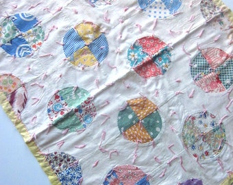 Vintage Patchwork Doll Quilt Handmade Shabby Chic Country Decor
