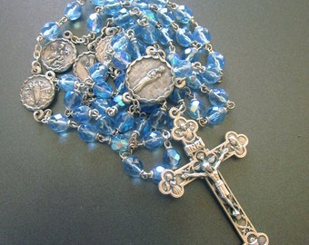 Blue Crystal Vintage Rosary Italy Vintage Religious Medals Italy
