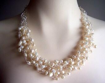 Pearl wire crochet necklace, wire crochet jewelry, pearl wedding necklace, pearl bridal jewelry