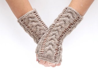Wool arm warmers lace cable knit fingerless gloves Linen gift for her womens gift winter wedding rustic