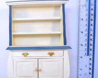 Dolls House DUTCH painted DRESSER cream blue shabby Chic Painted 12th scale furniture Handpainted