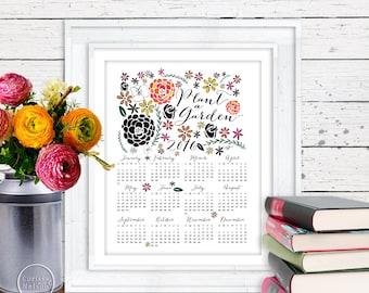 2015 & 2016 Calendar - Plant a Garden - Year Printable