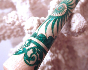 "The ""Princess Eve"" Seashell Hair Stick Featuring Tiger Striped Maple Inlaid with Malachite"