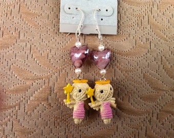 Unique Holiday Earrings, Valentine Voodoo Angel, One of a Kind