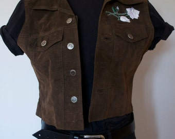 Brown Suede White Star & Rose Patch Western Vest