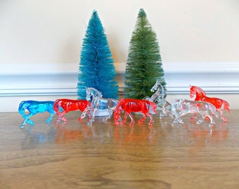 Horses, Plastic Horses, Vintage Toys, Vintage Horses, Horse Figurines,Miniature Horses, Supplies, Patriotic, Cake Topper