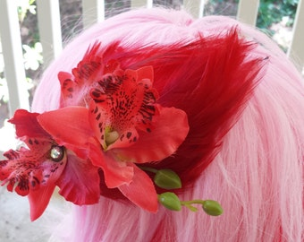 Duos: Jeweled Fairy Hair Clip Fascinator Orchids on Cherry Red Feather Pad with Bud Spray - Bridal, Wedding, Cosplay, Burlesque