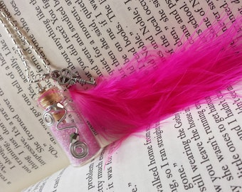 Fairy Glitter Bottle Necklace Pink w/ Hot Pink Feather, Crystals & Wire - .925 Silver Chain