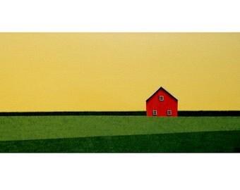 "ABSTRACT FARM Painting Fine Art Barn ORIGINAL 10 x 20"" Painting Country Farm Art Husband Art Cotton Anniversary Birthday Folk Art Gift"