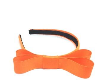 Tangerine Orange Bow Headband - 3/4 inch Headband w/ Bow, Girl Headband, Adult Headband  - Blair Waldorf Style Simple Bow Headband