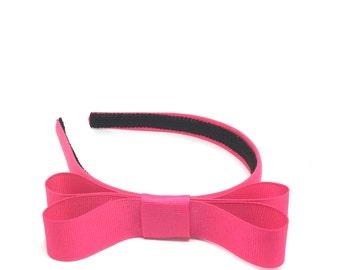 Magenta Bow Headband - 3/4 inch Headband hot pink w/ Bow, Girl Headband, Adult Headband  - Blair Waldorf Style Simple Bow Headband