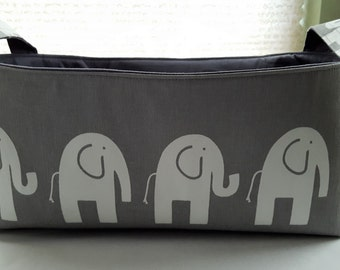 Long Diaper Caddy Fabric Organizer Basket Container  Gray with White Elephants Bin Storage