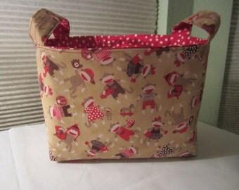 Fabric Organizer Basket Storage Bin Container - Sock Monkey Around
