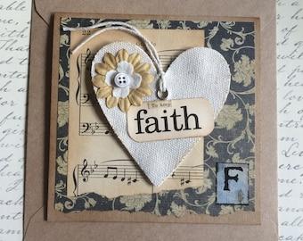 Handmade Faith Themed Canvas Heart Card