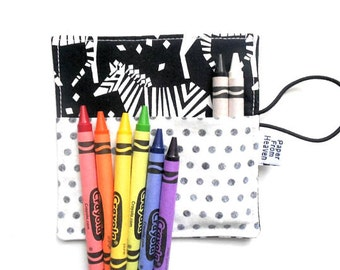 Mini Crayon Roll - Midnight Train - Incognito Tula zebra crayon holder, animal party favor, toddler gift