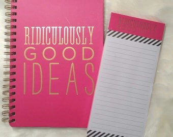 Pink and Gold Ridiculously Good Ideas Hard Cover Ring-bound Journal with Matching Notepad