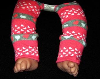 Leg warmer, Infant, Newborn-Valentine Pink, Grey n White Hearts-infant leg warmer, newborn leg warmer, baby girl leg warmer, baby leg warmer