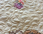 MarveLes THANKSGIVING Autumn Fall Collage Quilted Table Runner Cream Rust Brown Orange