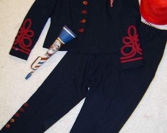 Ringmaster circus lion tamer navy jacket pants red hat womens sz M Halloween costume