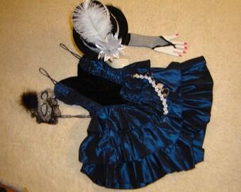 Ringmaster circus lion tamer costume blue dress womens sz 3  Halloween costume steampunk cosplay fantasy headpiece carnival