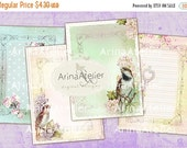 30% OFF SALE Shabby chic Birds Collage Sheet - Digital Images - Digital Collage Sheet - Digital Invites - Collage Tags - set of 8 cards