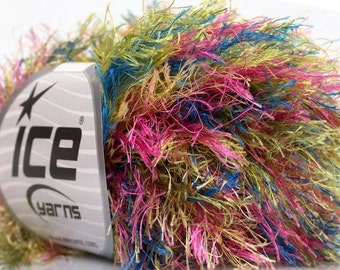 ICE YARNS COLORFUL  long eyelash Yellow Pink Green Blue 1 skein 50gr superbulky polyester chunky craft rug yarn turkish us 10 82 yrds 43763