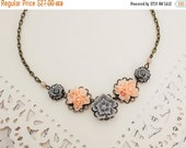 Peach and Gray Bouquet of Flowers Necklace