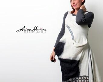 Deconstructed Women Dress - Reversible Wearable Art Garment handmade in Paris -  Reversible Black, White, Blue Gray - Wool Silk - Nuno Felt