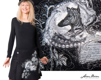 Stunning Wearable Art Skirt Black White, Animal Textile art, Reversible Convertible Art Garment, Silk Merino Wool Hand Felt, Designer Paris