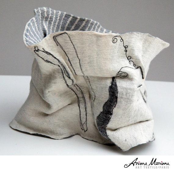 Extra Big Wearable Art Accessories - White & Gray Nuno felted Statement Snood - Reversible collar - softest merino wool - Paris design