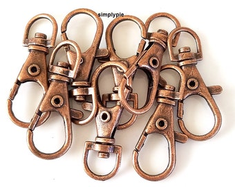 Large Antiqued Copper Swivel Lobster Clasps 8 Clips