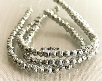 Silver English-Cut Czech 3mm 50 Glass Beads Per Strand