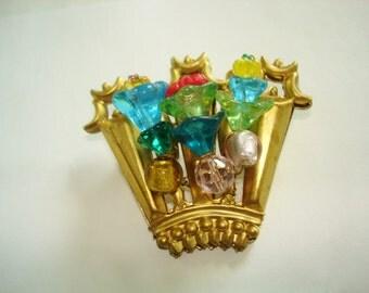 Flower Basket  Multi Color Glass Beads Gold Tone Brooch