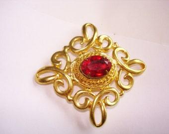 Red Rhinestone Brooch Gold Tone