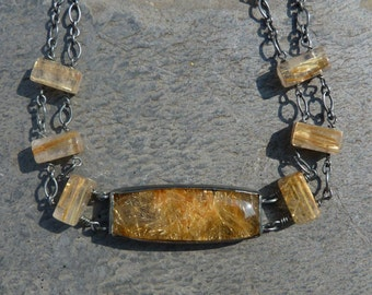 Sterling silver necklace with 7 rutil quartzs: IMPORTANT,French vat is included,off 20% for US and canadian buyers