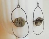 Earthy Minimal Stone and Steel Boho Earrings Handmade Unpolished Picasso Jasper Rustic, Tribal