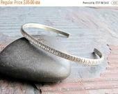 SALE Sterling Silver Skinny Stacking Cuff Bracelet - Diamond Back
