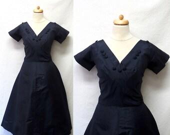 1940s / 50s Vintage Oleg Cassini Silk Taffeta Dress / Navy Blue V Neck Dress