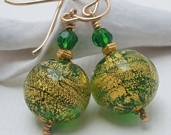Kelly Green and Gold Leaf Venetian Glass Beaded Earrings-Murano Glass Beaded Dangle Earrings with Gold Filled Earwires