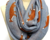Fox Scarf Fox Infinity scarf  Animal Printed Scarf Circle scarf, Scarves, Mother's Day Gift Ideas For Her Women