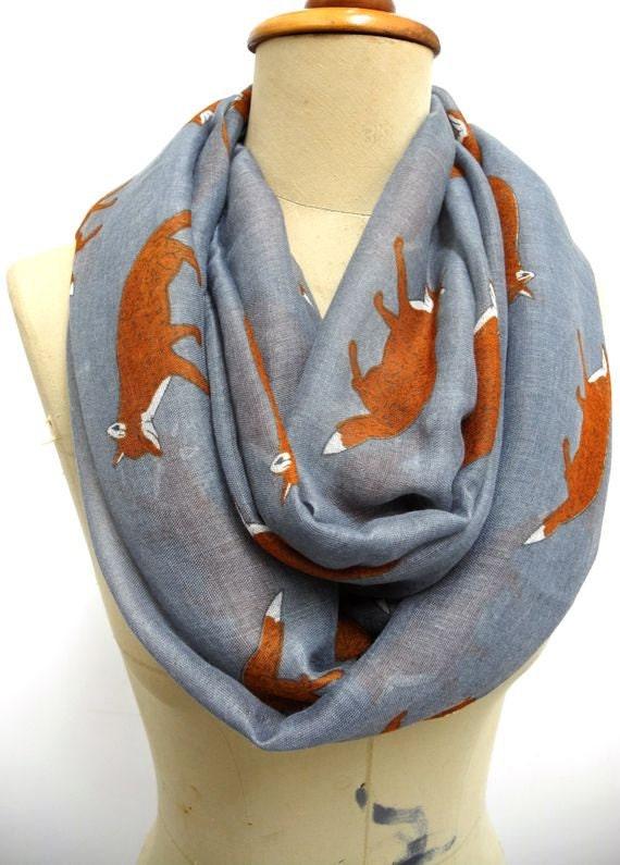 fox scarf fox infinity scarf animal printed scarf by