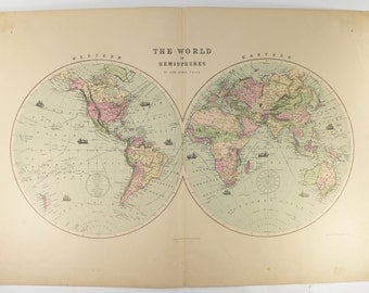 Antique World Map Hemispheres Map 1873 Large Vintage Map of the World in Hemispheres, Unique Office Gift for Coworker, Map Gift for Traveler