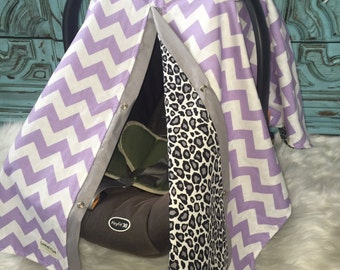 Car seat cover cheetah and lavender  / Car seat cover / car seat canopy / carseat cover / carseat canopy / nursing cover