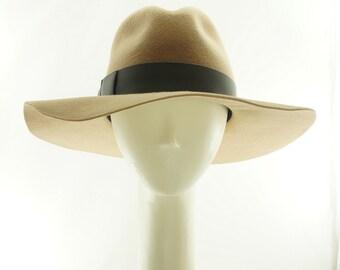 Tan WOMENS FEDORA HAT / Fur Felt Floppy Hat / Handmade by Marcia Lacher Hats