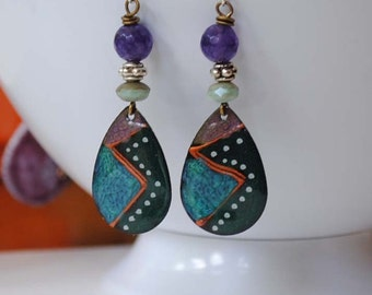 Abstract Earrings, Teal Earrings, Hand Painted Earrings, Teardrop Earrings, Cold Enamel Earrings, Geometric Pattern Earrings, Unique Artisan