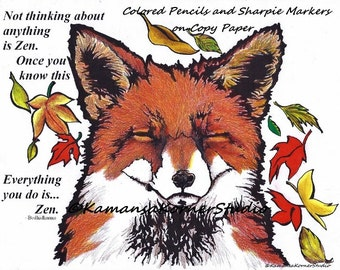 4 pages Zen Foxy Fox Coloring Page set of Four 2 Positive Inspiring quote